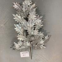 XM12197SI Metallic Holly Leaves Spray Silver 32""
