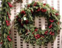 XZ10091GRRD Mixed Pine Cedar Berry Wreath Green Red 32""