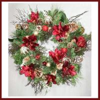 XZ10075RDGO Mixed Pine Amaryllis Ornament Wreath Red Gold 30""