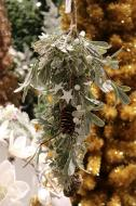 XM12166GOFR Frost Mixed Mistletoe Pinecone Swag Gold 20""