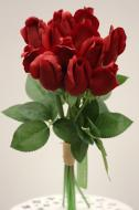 PA10171RD Rose Bud Bundle x 12 (Nat Touch) Red 17.75""