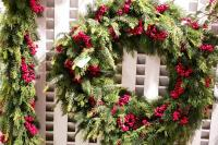 XZ10090GRRD Mixed Pine Cedar Berry Garland Green Red 10'