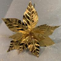XM12212GO Metallic Poinsettia Spray Gold 23""