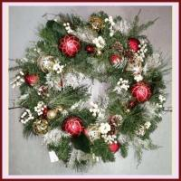 XZ10074RDGO Mixed Pine White Berry Ornament Wreath Red Gold 30""