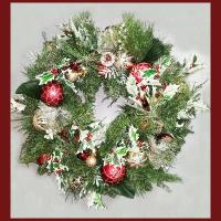 XZ10076VGRD Mixed Pine Holly Ornament Wreath 30""