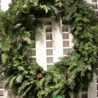 XZ10004 Mixed Pine Cedar Pinecone Wreath 36""