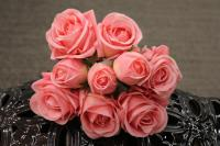 PA10121PK Rose Bqt 6 Flowers 3 Buds (Nat Touch) Pink 18""