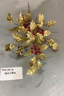XM12216GO Glitter Holly w/ Berry Spray Gold 32""