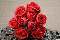 "PA10121RD Rose Bqt 6 Flowers 3 Buds (Nat Touch) Red 18""   ***INSTOCK***"